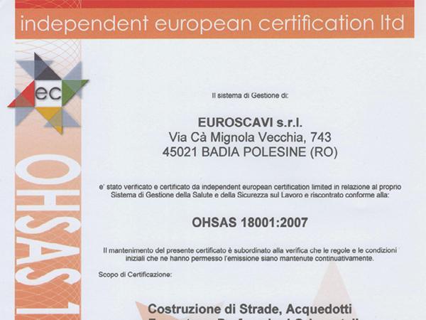 Certificato OHSAS 18001